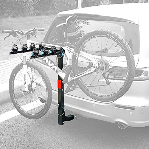Leader Accessories Hitch Mounted 4 Bike Rack Bicycle Carrier Racks Foldable Rack for Cars, Trucks, SUV's and Minivans with 2' Hitch Receiver
