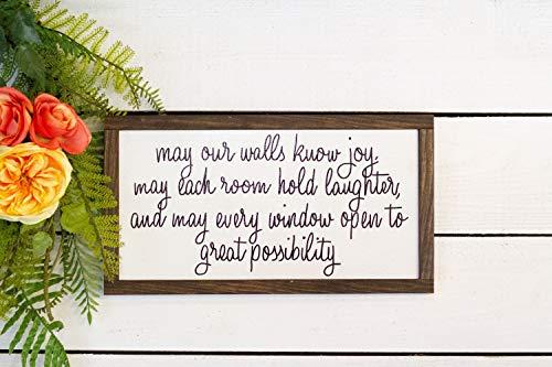 Wall Art mag onze muur weet vreugde, mag elke kamer houden gelach en mag elk raam open voor grote mogelijkheid hout teken houten plaque, aangepaste gift