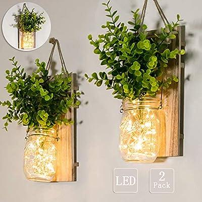 Mason Jar Sconces, Home Decoration, Rustic Wall Sconces, LED Fairy Lights, Green Fake Plant, Interior Decoration Warm Toned Lighting.(2 Pack)