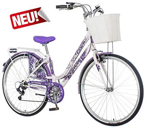 breluxx® 28 Zoll Damenfahrrad Venera Fashion Lavendel Citybike mit Korb + Licht, Retro Bike, 6 Gang Shimano, Modell 2020