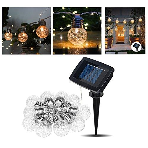 FenNGG Lichtsnoer op zonne-energie voor buiten, 3,8 m, 10 leds, lichtketting, ballen, 3 modi, waterdicht, buitenverlichting, decoratief, voor avond, bruiloft, tuin, winkel, huis, buiten, warmwit