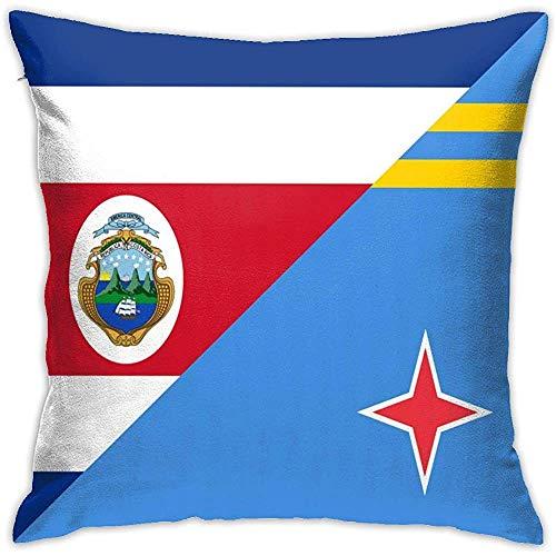 Decoratieve Kussensloop Costa-Rica Aruba Vlag Vierkant Kussensloop Kussensloop - Voor Sofa Bank Thuis Auto Slaapkamer Woonkamer Decor