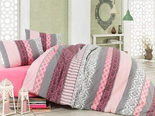 MyPalace Fein-Biber Bettwäsche 3-teilig 240x220cm + 2 x 80x80cm, 100% Baumwolle Bettdeckenbezug und Zwei Kissenbezüge Bettgarnitur optimal für Herbst und Winter, Grau-Rosa Flanell