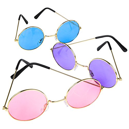 Rhode Island Novelty Round Colored Lens Sunglasses, One per Order, No Color Choice