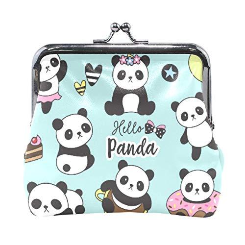 Lindo bebé panda Set monedero retro dinero bolsa con cierre de hebilla cartera cartera cartera titular de tarjeta para mujeres y niñas