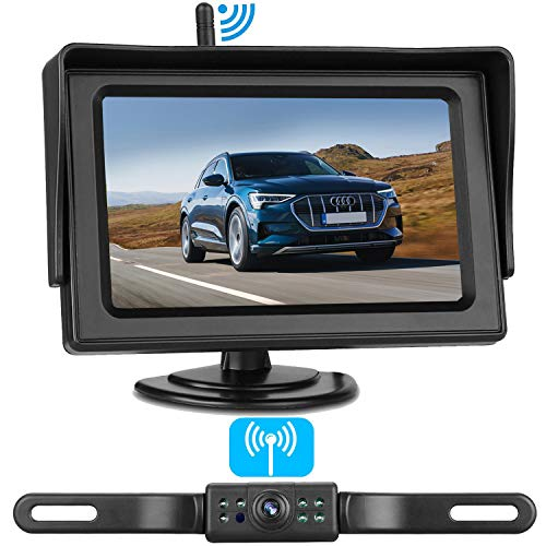 Amtifo Wireless Backup Camera For Cars,SUVs,MiniVans,Pickups,4.3 Inch Monitor Reversing System With Adjustable Rear/Front View Camera Super Night Vision,Guide Lines On/Off,IP69 Waterproof