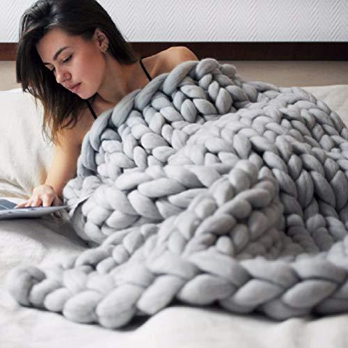 Kenyaw Decke Gestrickte Grobe Strickdecke Wolle Garn Handgefertigt Haustier Bett Stuhl Sofa Super Große Arm Stricken Sperrig Decke(Grau/80 * 100CM)