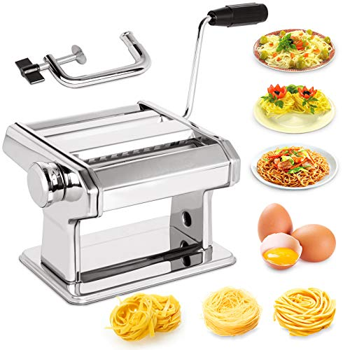 X Home Stainless Steel Pasta Maker Machine 7 Adjustable Thickness Settings Noodles Maker with Washable Aluminum Alloy Rollers and Cutter Perfect for Spaghetti Fettuccini Lasagna or Dumpling Skins