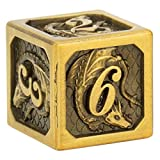 HYMGHO Polyhedral Metal DND Dice Set with Metal Box, 7-die Engraved Dragon Design with Dragon Scales RPG dice, Dungeons and Dragons Pathfinder Shadowrun D&D Role Palying Game(Ancient Gold)