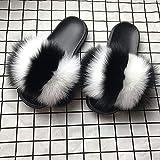 LHNT Zapatillas de Casa para Mujer, Zapatillas Verano para Mujer Zapatillas de Pelo de Piel de Zorro Ultra Suaves,Chanclas de Interior Sandalias Informales (36-45EU) para el Aire última intervensión