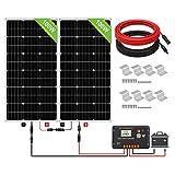 ECO-WORTHY Kit Panneau Solaire Monocristallin 200 Watts (2 unités de 100Watts) Système Hors-réseau pour Camping-car, Bateau, Caravane