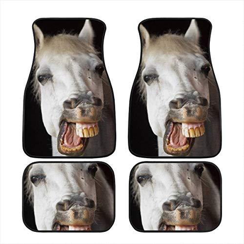 Amzbeauty Funny Tapis de sol avant et arrière en caoutchouc (cheval) pour voiture, SUV, van et camion - Protection contre les intempéries universelle