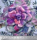 Soimoi Blau Seide Stoff Blätter & Begonie Blumen- Drucken