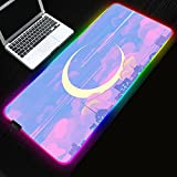 Gaming Mouse Pad Pink Blue Tone LED 14 Lighting Modes,Anti-Slip Rubber Base Large RGB Mouse Pads for PC Gamers-Anime Sailor Moon City Crescent Moon View 31.5x11.8 Inches