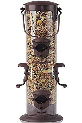 Paws & Pals Wild Bird Feeder - Squirrel Proof - Outdoor Hanging Seed House - Single Port, 3-Port, 6-Port