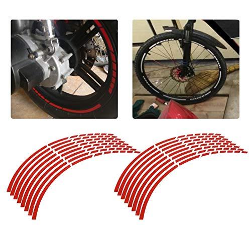 16 Uds cinta reflectante para llanta de rueda, cinta adhesiva para bicicleta, motocicleta, 16-18 pulgadas, pegatinas reflectantes para tira de rueda, accesorio de decoración(rojo)