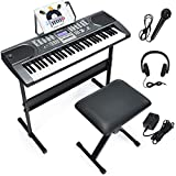 Costzon 61 Key Keyboard Piano with LCD Screen, Portable Digital Piano w/Microphone Headphone, Adjustable Stand, Foldable Piano Bench, Dual Power Supply, Perfect for Kid Beginners Adults (Black)
