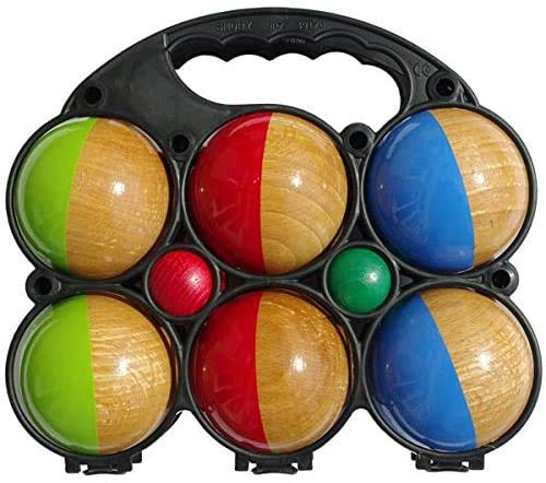 Set of 6 Two-Coloured Wooden Pétanque Balls