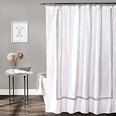 Lush Decor Hotel Collection Shower Curtain, 72  by 72 , White/Gray