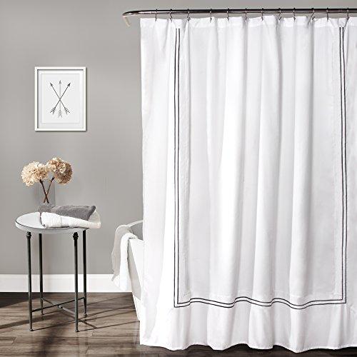 "Lush Decor Hotel Collection Shower Curtain Fabric Minimalist Plain Style Bathroom Design, 72"" x 72"", White and Gray"