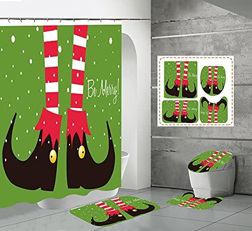 CQFFCG Juego de alfombras de baño 4 Piezas de baño de Serie navideña con Cortinas de Ducha Alfombrillas de baño Antideslizantes Impermeables Conjuntos(Forma 24)