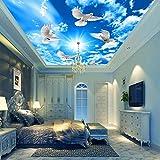3D cielo azul nubes blancas sol techo mural papel tapiz paloma...