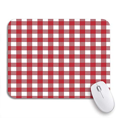 PONIKUCY Gaming und Office Mauspad,Gingham Red Patterns Tischdecken Karierte 50S Plaid Retro Abstract,rutschfester Unterseite