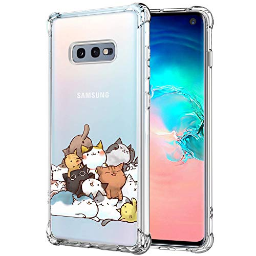 KIOMY Case for Samsung Galaxy S10e for Girls Boys Women Clear with Cute Cat Design Shockproof Bumper Protective Lovely Cell Phone Back Cover Flexible Slim Fit Soft Rubber Skin for Samsung Galaxy S10e