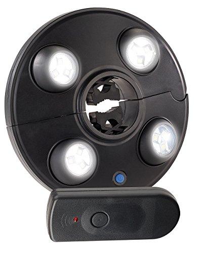 Luminea Sonnenschirmleuchte: LED-Schirmleuchte mit 4 dreh- & dimmbaren Spots, 200 lm, Fernbedienung (Sonnenschirmlampe)