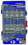 TIVOLY XT606470003 Fresas de fresadora de Formas Surtidas, Azul, Set de 12 Piezas