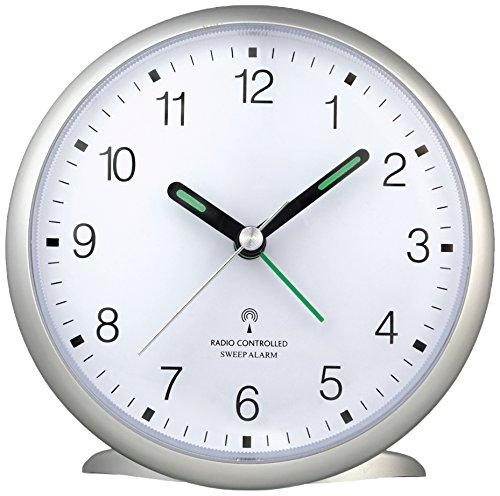 TFA Dostmann 60.1506 Funk-Wecker, leises Sweep Uhrwerk, gut ablesbare Ziffern, mit Funkuhr, 5,2 x 11 x 10,7 cm, silber, Kunststoff