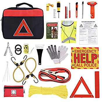 Thrive Car Emergency Kit with Jumper Cables + First Aid Kit   Auto Emergency Kit & Car Accessories   Roadside Vehicle Assistance   Car Tool Kit Bag   Road Trip Essentials