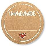 72 x Etiketten Marmelade (4cm klein) - Homemade Aufkleber - Selbstklebend, ablösbare Sticker - Klebeetiketten zum Beschriften für Selbstgemachtes - Einmachetiketten in Kraftpapier Optik - Rund