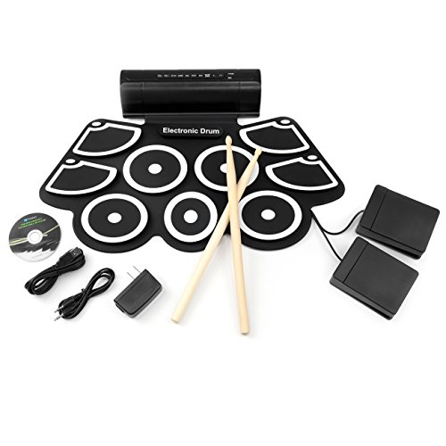 Best Choice Products Electronic Drum Pad, MIDI Drum Set w/Built-In Speakers, 2 Effect Pedals,...