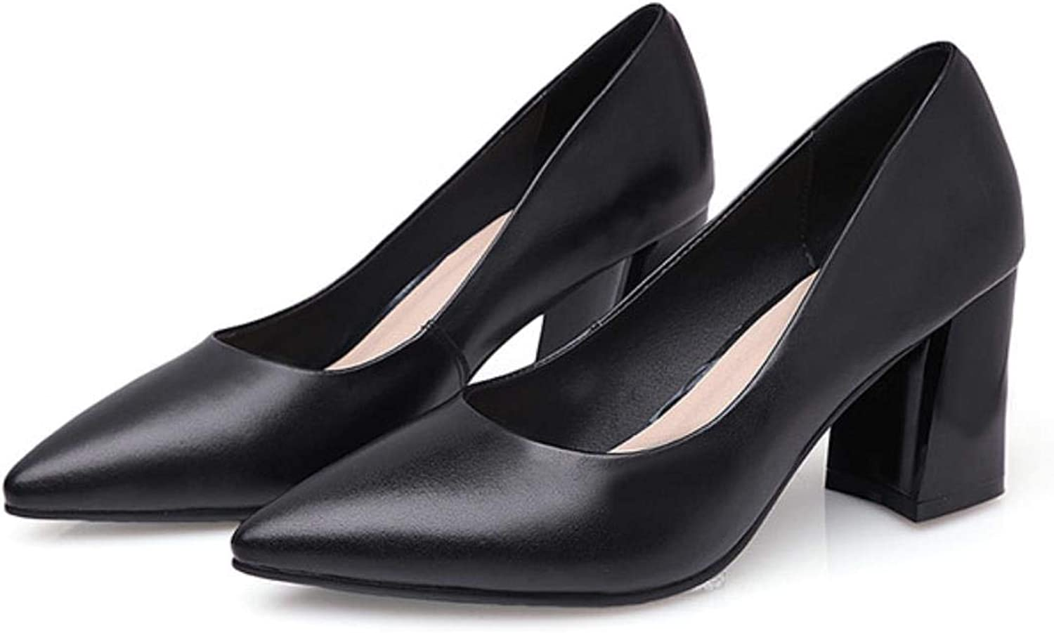 Women Square Heels Office Career Pointed Toe Genuine Leather Pumps