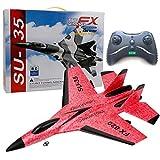 Avión RC 2 canales, SU35 Planeador teledirigido 2.4G RC Avión de juguete para principiantes niños adultos (rojo)
