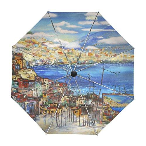 ALAZA Neapel Italien Stadt und die Berge Landschaftsmalerei Regenschirm Reise Auto Öffnen Schließen UV-Schutz-windundurchlässiges Leichtes Regenschirm