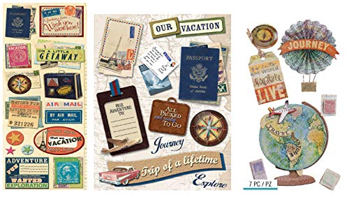 32 Traveling Scrapbook Stickers | Travel Stickers for Scrapbooking, Vacation Photo Albums, Travel Stub Diary, Trip Themed Journal | Passport, Stamps, Vacation, Luggage, Airplane Theme Sticker Set