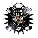 Vinilo Pared Reloj Hockey Man Cave Reloj de Pared con Disco de Vinilo Logotipo del Equipo del Club de Hockey Reloj de Pared Vintage Palos de Hockey y decoración de Disco Hockey Lover Gift 30cm