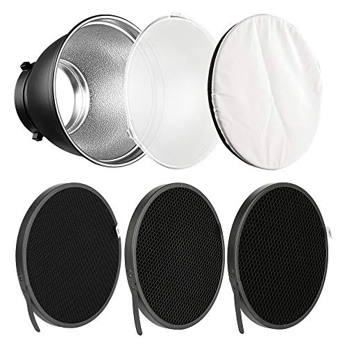 Soonpho 7' Standard Reflector Diffuser Lamp Shade Dish with 10° /30°/ 50° Degree Honeycomb Grid White Soft Cloth for Bowens Mount Studio Strobe Flash Light Speedlite