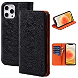 VISOUL Phone Cover with Card Holder Compatible with iPhone 12 Pro Max 5G Wallet Case, Pebbled Leather Contrast Color Magnetic Folio Case Designed for iPhone 12 Pro Max (6.7-inch) (Black+Orange)