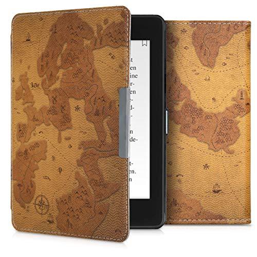 kwmobile 対応: Amazon Kindle Paperwhite (10. Gen - 2018) ケース - 電子書籍カバー PUレザー - オートスリープ Reader 保護 古地図デザイン