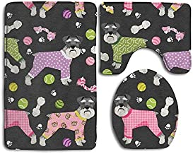 Bestauseller Schnauzers in Jammies Bath Mat Set,3 Piece Bathroom Mats Set Non-Slip Bathroom Rugs/Contour Mat/Toilet Cover