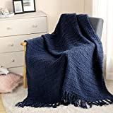 Thick Chunky Navy Blue Knitted Throw Blanket for Couch Chair Sofa Bed, Chic Boho Style Textured Basket Weave Pattern Blanket with Decorative Fringe, 50'x60'
