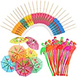 WXJ13 50 Pieces Flamingo Cocktail Stirrers Swizzle Sticks Paper Umbrella Sticks for Drinks Summer Party Food Drink Decorations Hawaiian Tropical Party Decoration Cocktail <span class='highlight'><span class='highlight'>Accessories</span></span>, Mixed Color