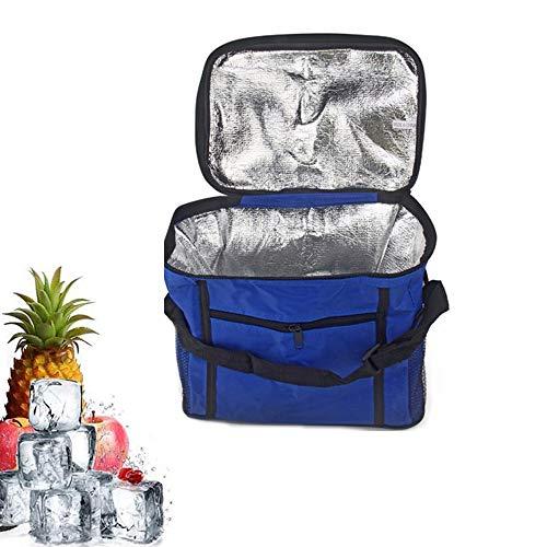 Bolsa de Picnic para llevar en la Mano,Plegable Bolsa Isotermica Camping,Portatil Bolsas Térmicas Almuerzo,Bolsa Comida Térmica,Bolsa Refrigeradora para Picnic,para Camping,Viajes,Picnic(Azul)