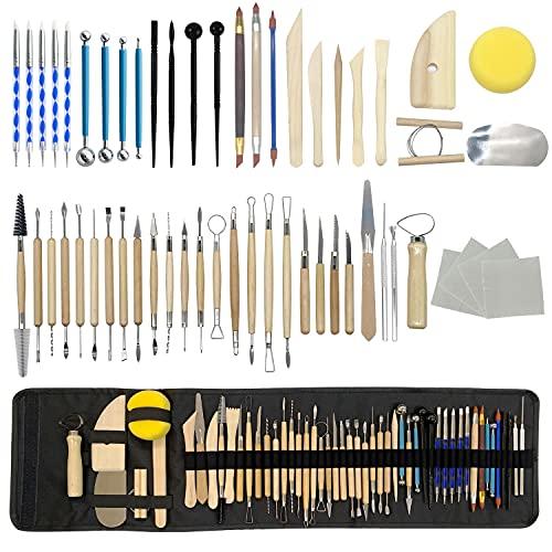 DANDA 점토 도자기 조각 도구 55 개토 세라믹 조각 도구 세트 운반 케이스 가방 폴리머 점토 도구 도구 세트를 초보자와 전문적인 예술 공예품