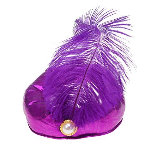 Amosfun Sombrero de Reyes de Halloween Indio sultán príncipe Sombrero árabe Sombreros decoración de Plumas Tocado