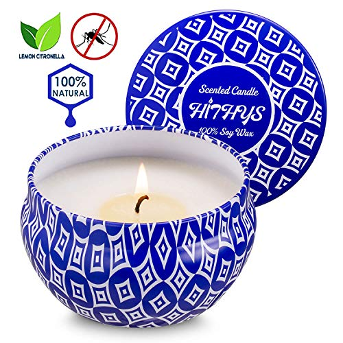 Citronella Candle Outdoor and Indoor, Natural Soy Wax Mosquito Repellent Candle, 8.5oz 40 Hours Large Portable Travel Tin Cotton Wick Scented Candle for Patio Outside