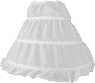 OULII Girls' Petticoat Half Slip 3 Hoop Flower Girl Crinoline Petticoat Skirt, White, Small